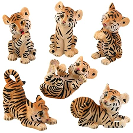 Cute Tiger Cubs Statue Figurines Set Of 6 Collection