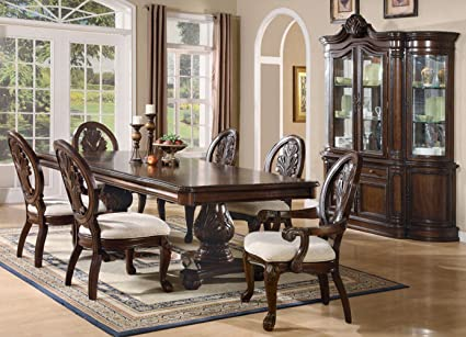 Amazon.com - TABITHA FORMAL PEDESTAL DINING ROOM SET 8 PIECE CHERRY ...