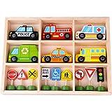 Tooky Toy Leksaksfordon i trä Paket med bilar och skyltar