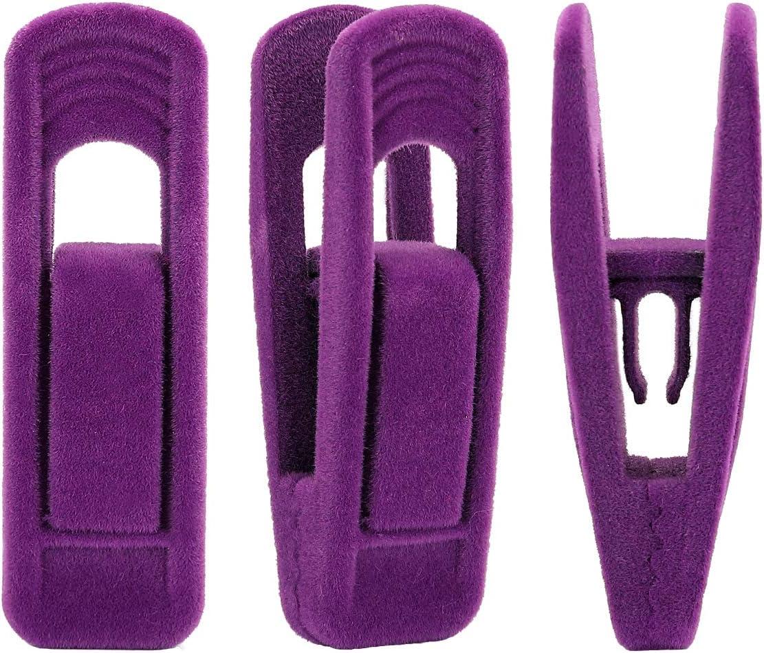 Trgowaul Purple Velvet Hangers Clips, Pants Hangers Velvet Clips, Strong Finger Clips Perfect for Thin Velvet Hangers (Purple 20 Pack)