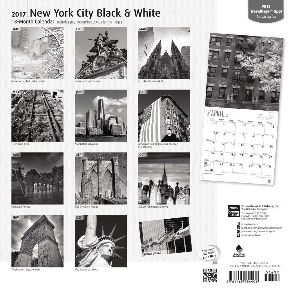 New York City Black & White 2017 Square: BrownTrout: 0709257561134:  Amazon.com: Books