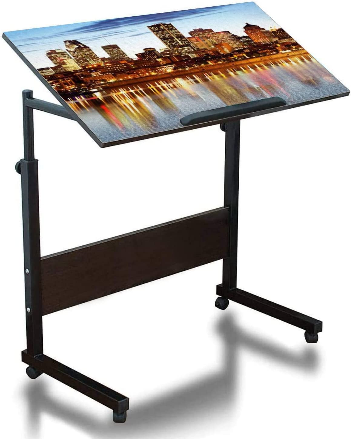Mobile Laptop Desk Height Adjustable Table Montreal Skyline and River at Dusk XXL Small Rolling Couch Desk Laptop Tray Portable Laptop Stand Desk Mini Computer Table