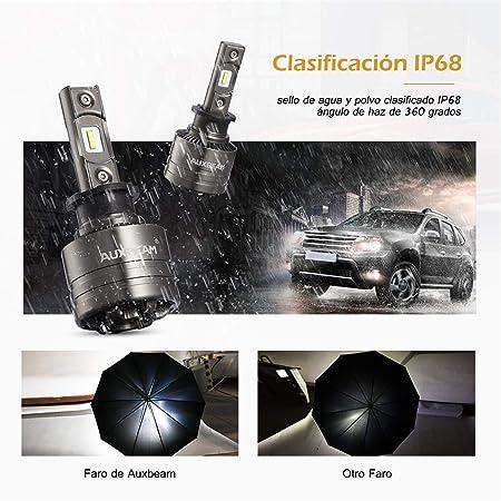 Auxbeam 2 x H3 Faros LED 6500k 70w 8000lm Faros Delanteros Bombillas de Coche, Con Decodificador, Ventilador, Serie F-T1, Espacio Gris: Amazon.es: Coche y ...
