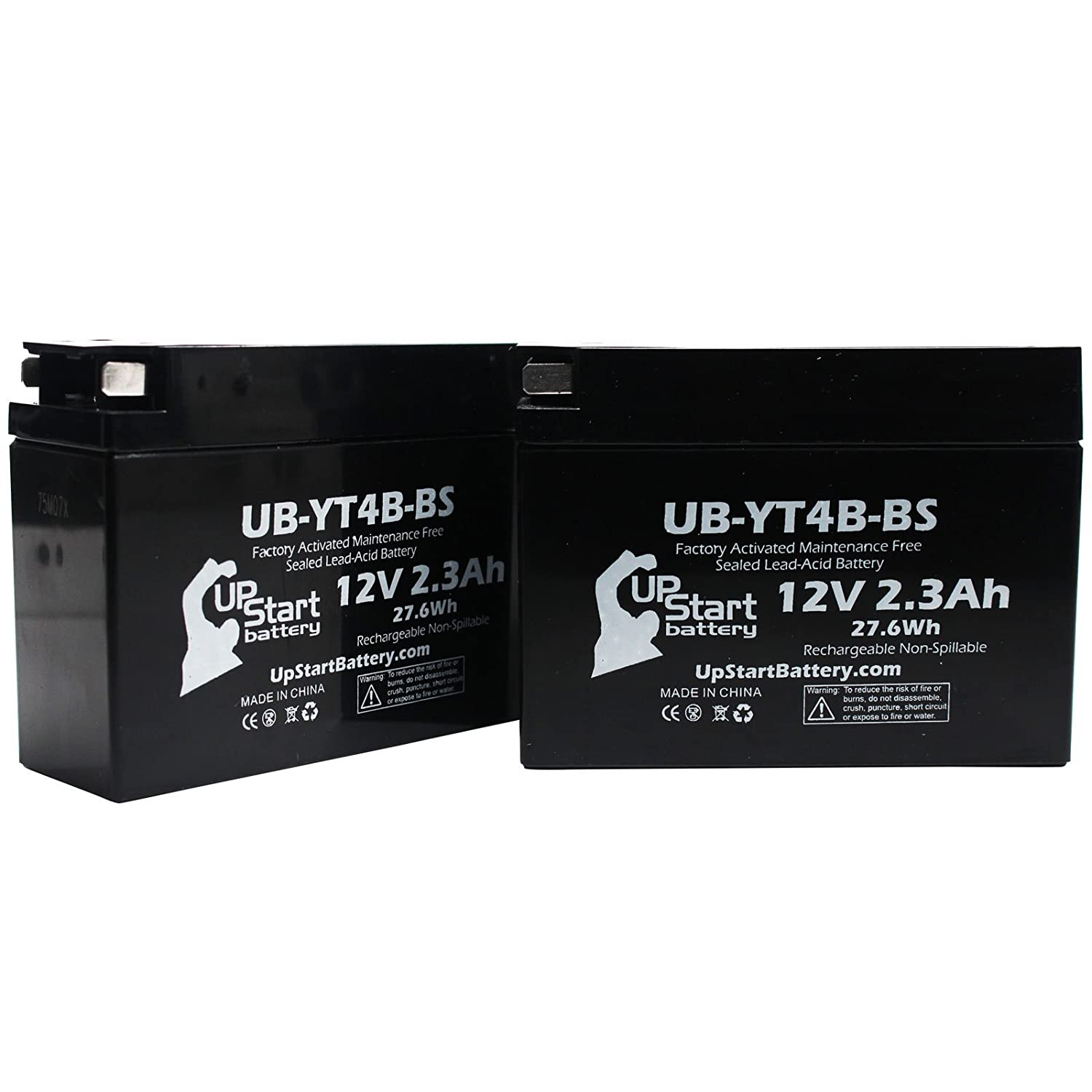 2-Pack Replacement 2007 Yamaha TTR90E Electric Start 90CC Factory Activated, Maintenance Free, Motorcycle Battery - 12V, 2.3Ah, UB-YT4B-BS Upstart Battery UB-YT4B-BS-2BATT-DL9