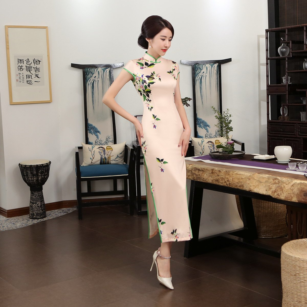 ACVIP Women Cap Sleeve Vintage Chinese Floral Maxi Qipao Side Split Cheongsam (China M/Bust:33.5'') by ACVIP (Image #8)