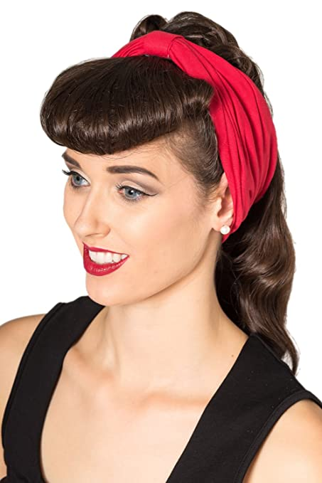50s Hair Bandanna, Headband, Scarf, Flowers | 1950s Wigs Banned No Talking Vintage Retro Headband - Red Black or Purple $7.95 AT vintagedancer.com
