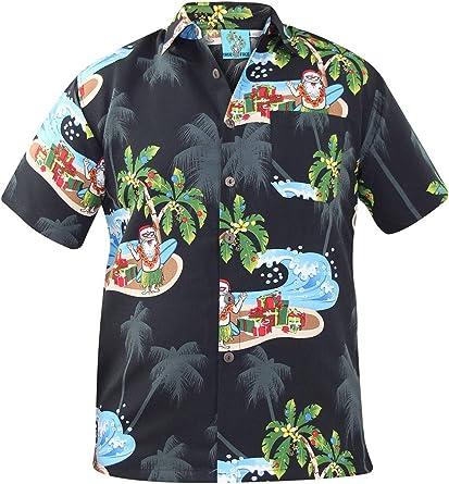 True Face Nuevo Hombres Navidad Hawaiano Impresiones Poliéster Camisa Playa Fiesta Parte Superior: Amazon.es: Ropa y accesorios