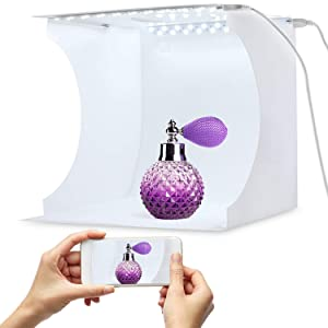 Portable Photo Studio Box for Jewellery and Small Items Portable Folding Photography Studio Box Booth Shooting Tent Kit(2x20 LED Lights 6 Colors Backdrops