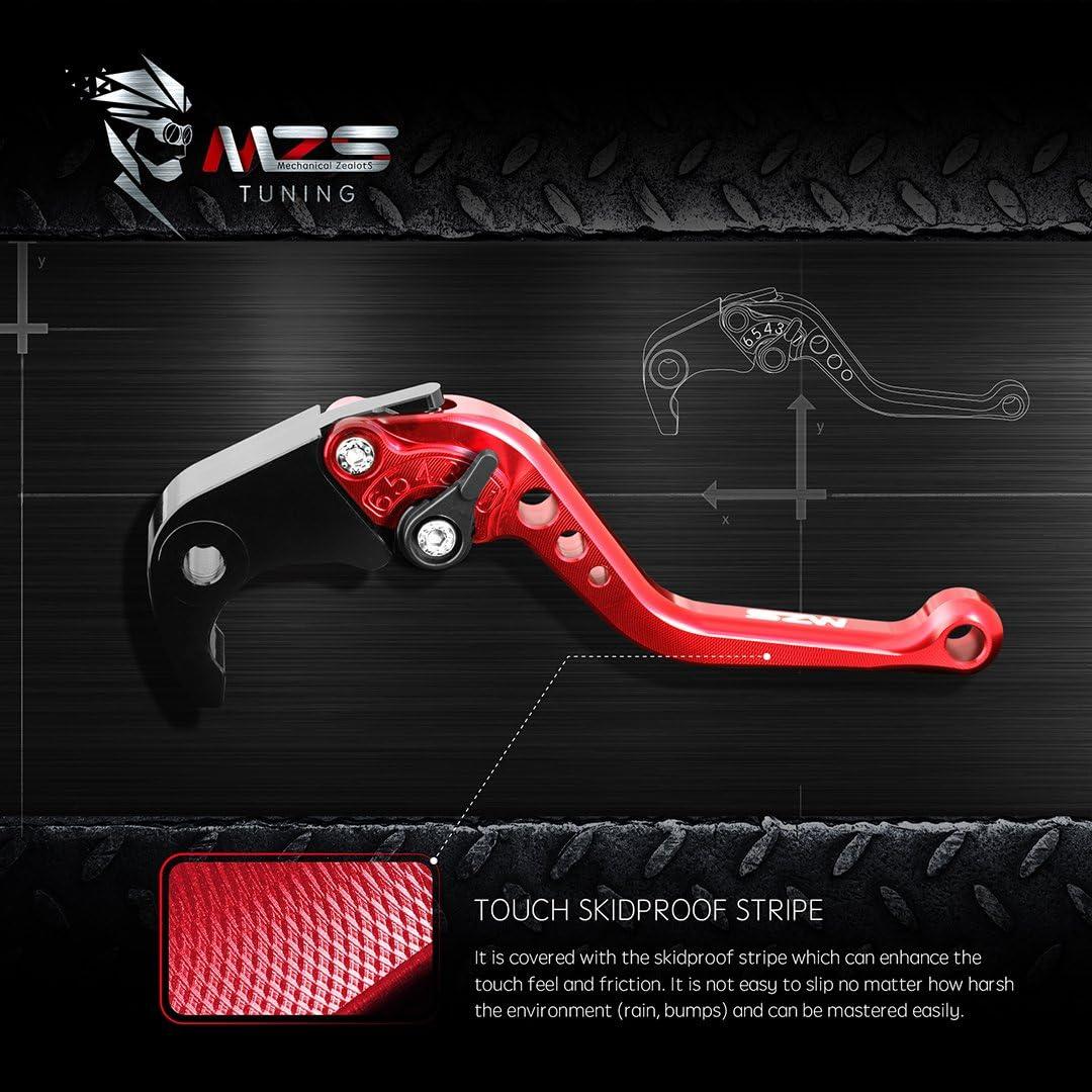MZS Short Brake Clutch Levers for Honda VF750S Sabre 1982-1986,VFR750 1991-1997,VFR800//VFR800F 2002-2018,VTR1000F Firestorm 1998-2005,CBF1000 2006-2009 Red