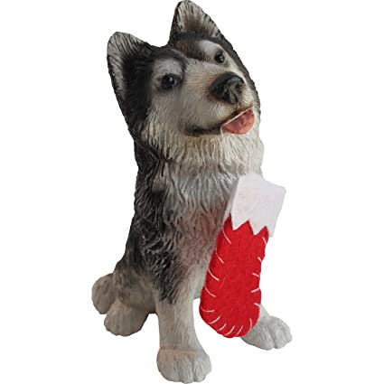 Sandicast Siberian Husky with Red Stocking Christmas Ornament - Amazon.com: Sandicast Siberian Husky With Red Stocking Christmas