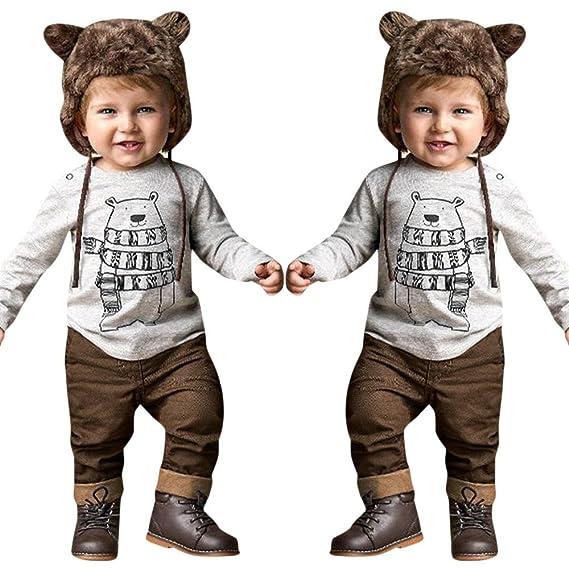 YanHoo Ropa para bebés Caricatura Infantil Oso Gris Traje Manga Larga Camiseta de Manga Larga con Estampado de Oso de bebé niño 2 Piezas + Ropa de Traje de ...