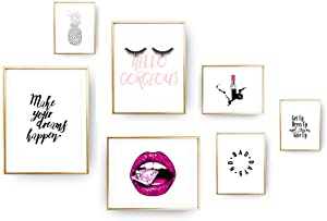 Inspirational Fashion Prints - (8x10) Unframed/Frameable dorm wall posters - vanity wall decor - Office Art Quotes Themed Bathroom girls Bedroom Decoration