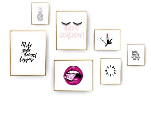 Make Up Lover Gift Wall Art Decor - 8x10 Unframed - Set of 7 Prints - Funny Quotes Sayings Rap Hip-Hop Themed Bathroom Bedroom Dorm Decoration