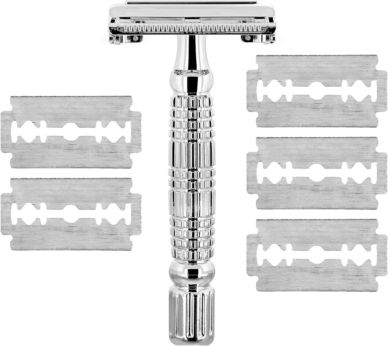 TROP maquinilla de afeitar con 4 cuchillas de repuesto, incluye estuche, acabado cromado – maquinilla de afeitar masculina/afeitadora/maquinilla de afeitar unisex