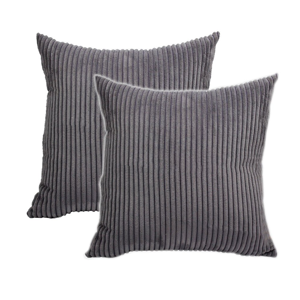 Belleine 2 Funda de cojín a rayas Funda protectora de cojín Euro Corduroy para sillas y sofá de 45 x 45 cm, Gray