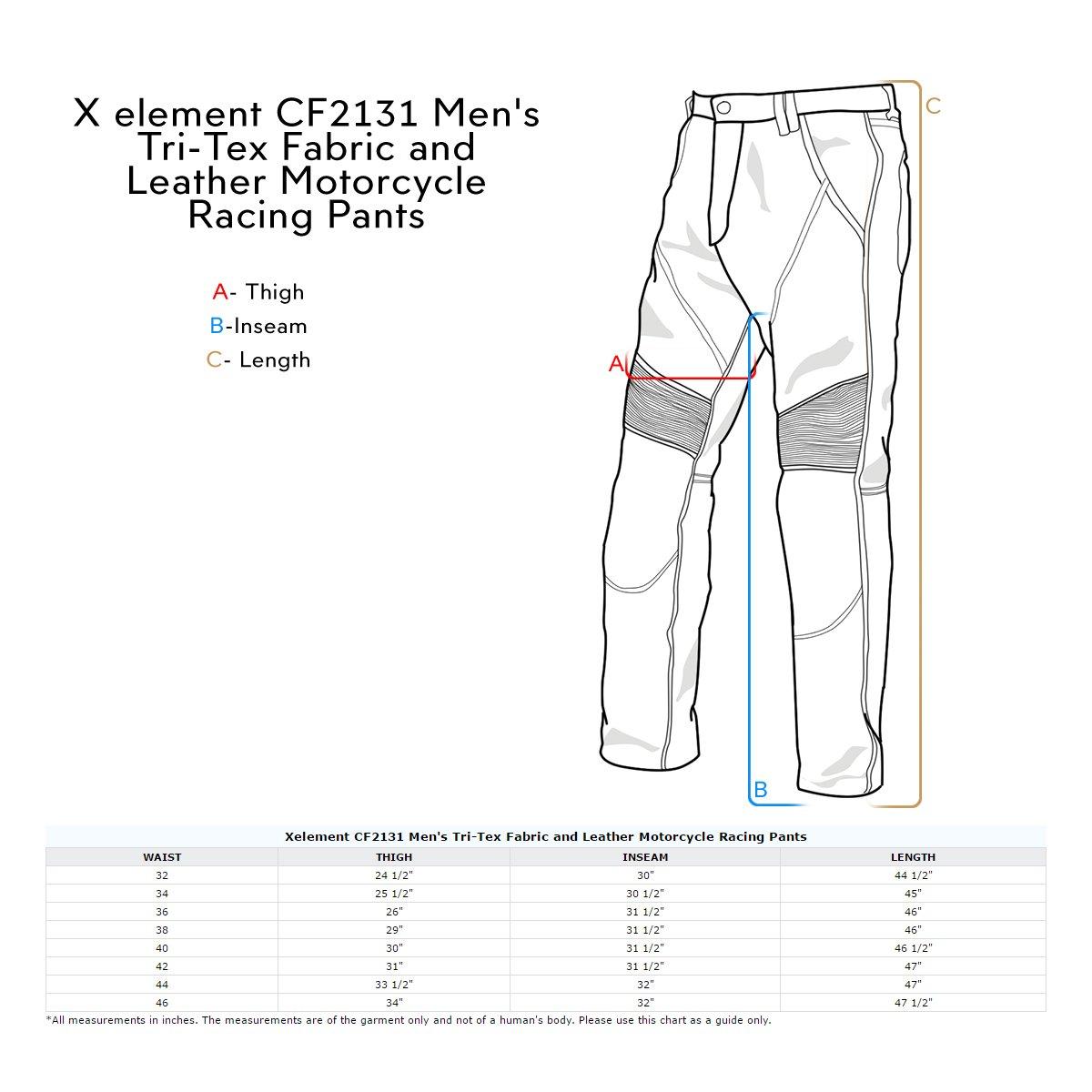 Xelement CF2131 Mens Black Tri-Tex/Leather Motorcycle Racing Pants - 40