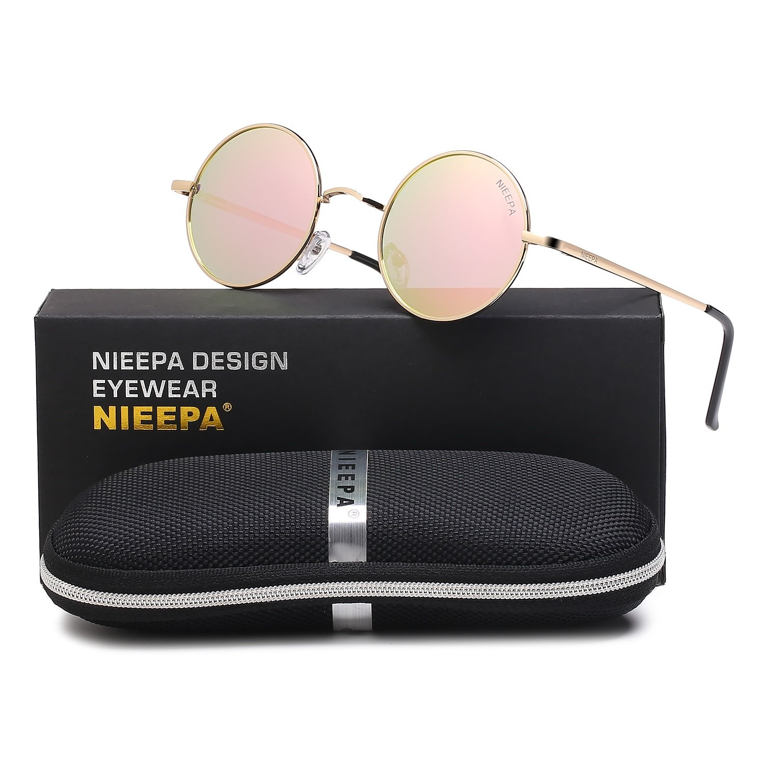 NIEEPA John Lennon Vintage Round Polarized Hippie Sunglasses Small Circle Sun Glasses (Pink Lens/Rose Gold Frame) by NIEEPA