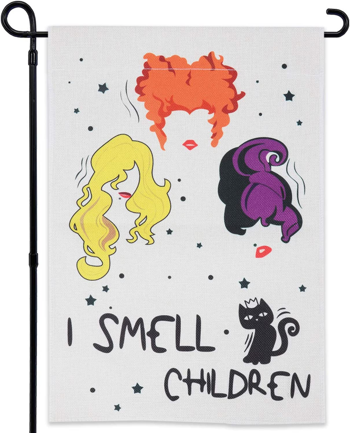 GEGEWOO Halloween Hocus Pocus Burlap Garden Flag I Smell Children Double Sided Flags, Cute Black Cat and Sanderson Sisters Yard Outdoor Decoration 12 x 18 Inch
