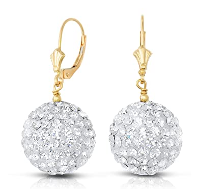 1d46fa376fc0 Image Unavailable. Image not available for. Color  14k Yellow Gold 14mm  Large Crystal Ball Drop Earrings with Leverbacks