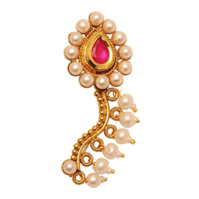 Buy Sanjog Kundan Moti Wedding Maharashrian Pearl Nath Nose Ring