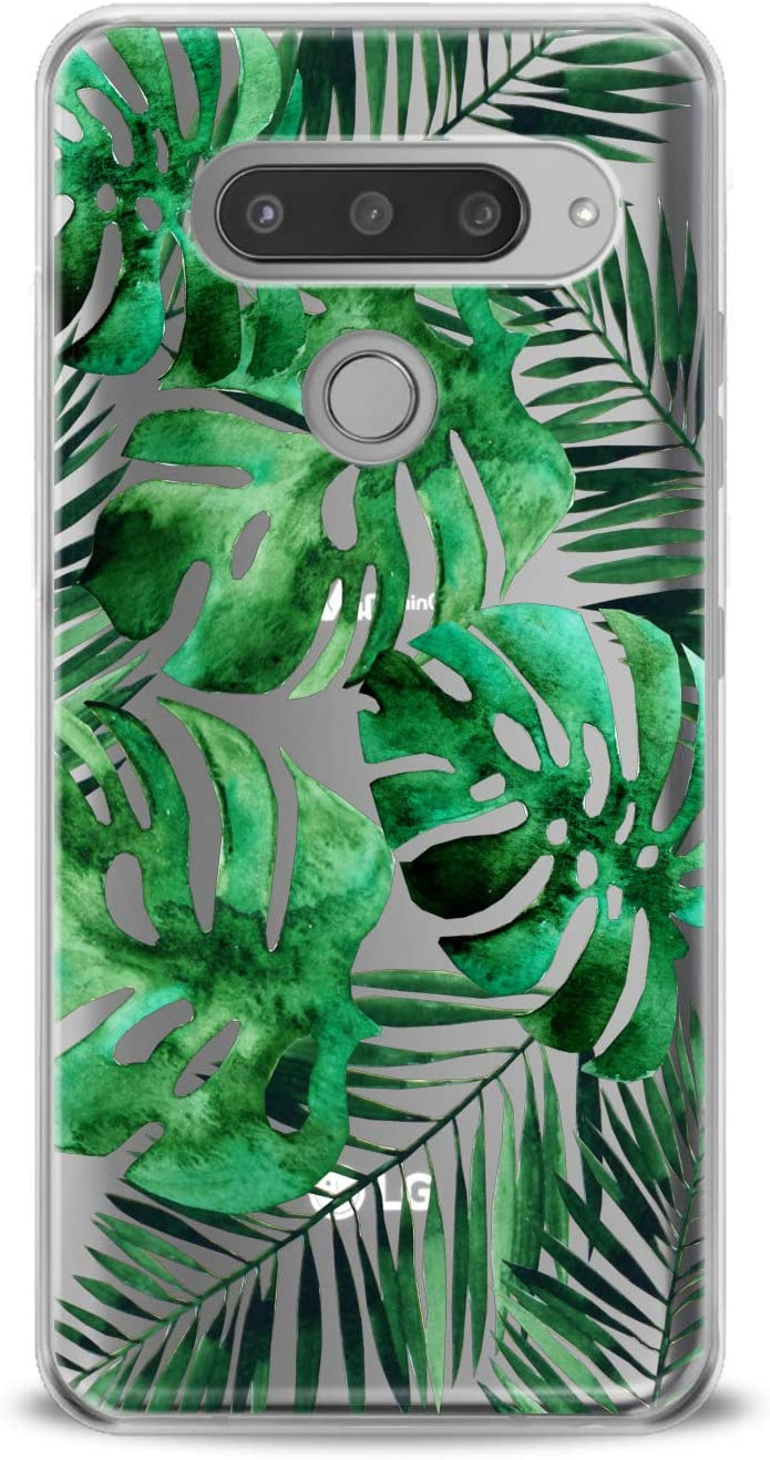 Lex Altern TPU Case for LG G8 Stylo 5 K11 G7 ThinQ G6 V40 V35 V50 K8 Leaf Monstera Phone Tropical Slim fit Plant Gift Lightweight Cover Pattern Smooth Print Leaves Design Clear Flexible Soft Green