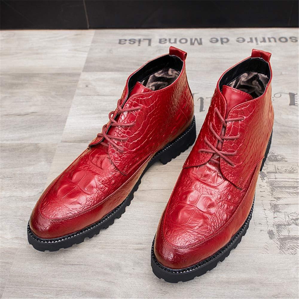 CHENJUAN Reine Schuhe Herrenmode Stiefeletten Casual Individuelle Textur Reine CHENJUAN Farbe Schnüren Hohe Stiefel 00a3b0