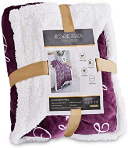RHF Sherpa Blanket w/Words of Warm Hug, Family, Friendship, Positive Energy Healing Thoughts, Super Soft, Birthday Gifts for Women Men, Gift for Women, Womens Gifts, Mom Birthday Gifts(Throw, Violet)
