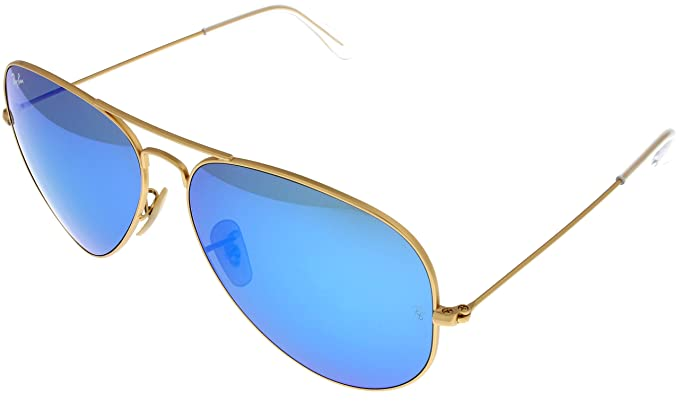 c6c462de4c2 Image Unavailable. Image not available for. Color  Ray Ban Sunglasses  Aviator Gold  Blue Mirrored Lens Unisex RB3025 112 17 62