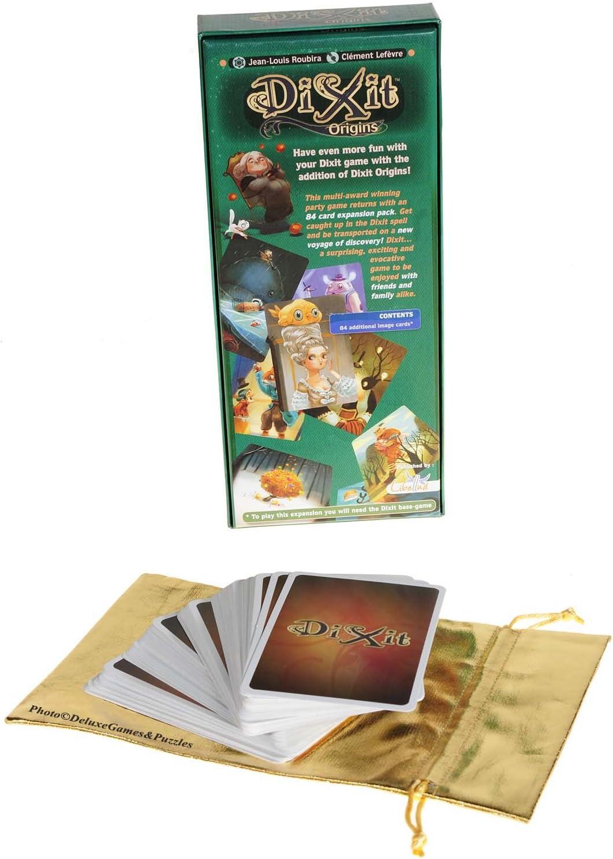 Asmodee Dixit Origins _ Tarjetas de expansión para Dixit Game _ Bolsa de almacenamiento con cordón dorado metálico: Amazon.es: Juguetes y juegos