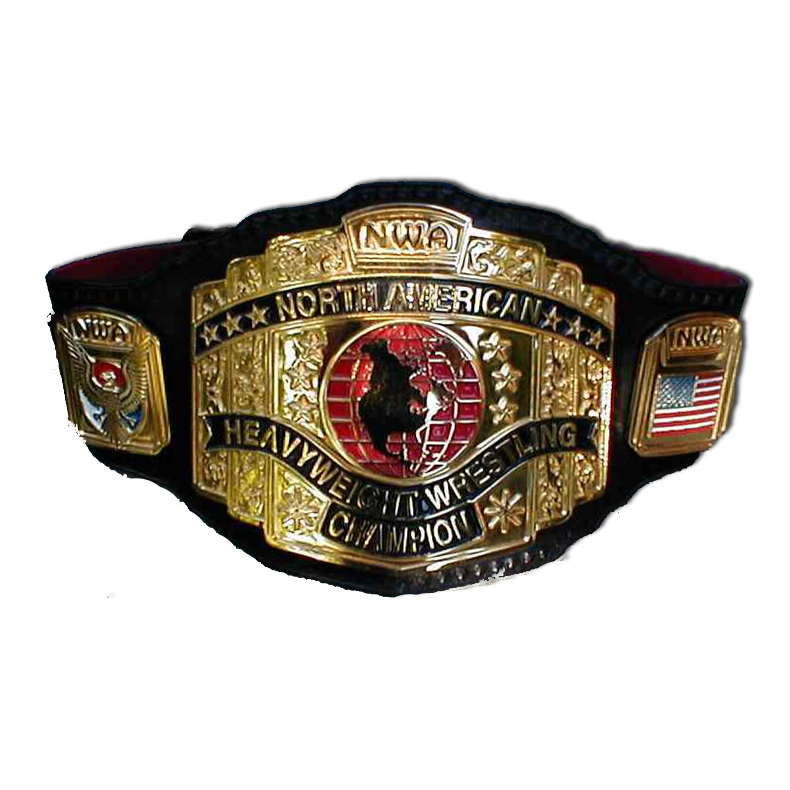 N.W.A. North American Heavyweight Wrestling Championship Replica Title Belt - Brass Metal 4mm Plates