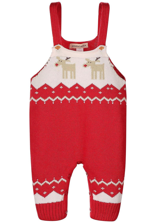 ZOEREA Toddler Baby Romper Shoulder Strap Christmas Deer Jumper Knitted Sweater YS2446