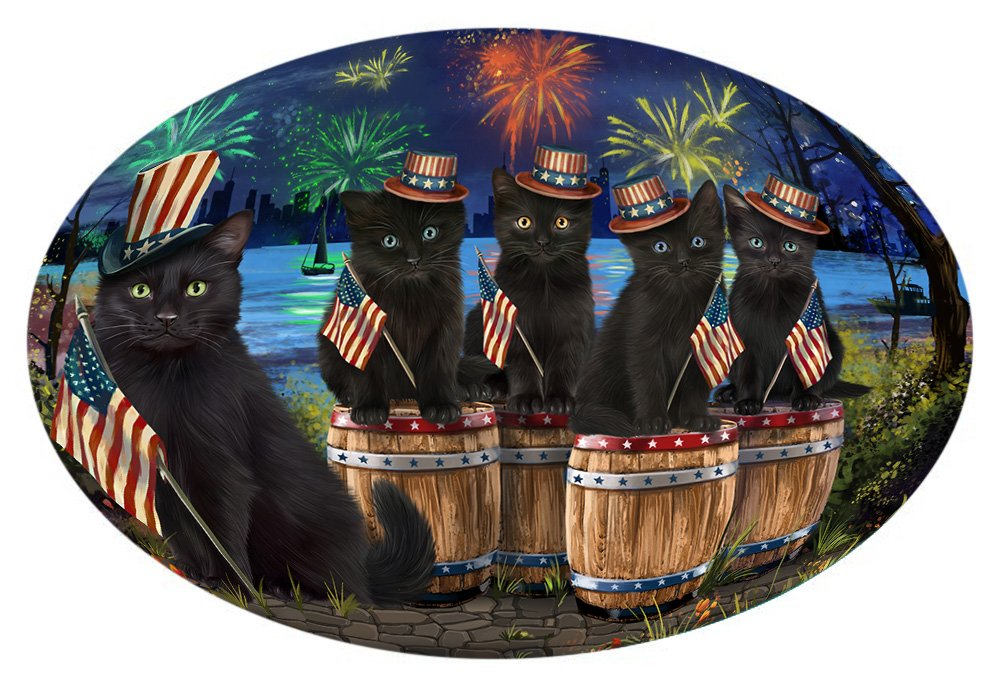 Doggie of the Day 4th of July Independence Day Fireworks Black Cats at the Lake Oval Envelope Seals OVE60064 (50)