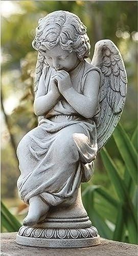"Roman 17"" Joseph's Studio Praying Cherub Angel on Pedestal Outdoor Garden Statue"