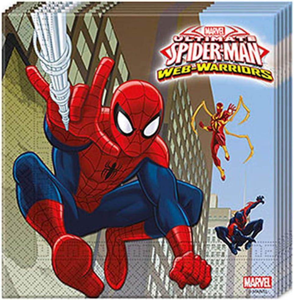 Unique Party 20 Ultimate Spiderman Web 2 Ply Paper Napkins