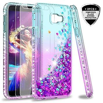 LeYi Compatible with Funda Samsung Galaxy J4 Plus / J4+ Silicona Purpurina Carcasa con [2-Unidades Cristal Vidrio Templado],Transparente Cristal ...