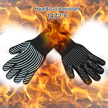BBQ Grill Gloves, MayBest 1472℉Extreme Heat Resistant Grilling Gloves, Silicone Insulated Kitchen Oven Mitts, Long Non-Slip Potholder Gloves for Baking, Frying, BBQ Grilling, Cooking, Fireplace, 1Pair