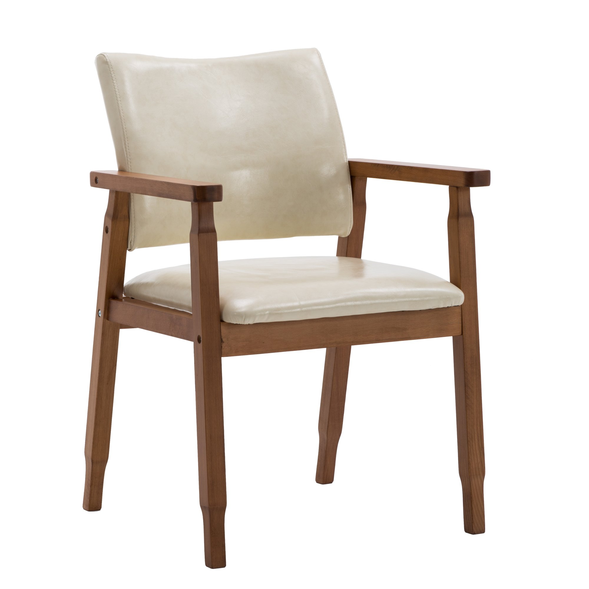 NOBPEINT Mid-Century Dining Side Chair With Faux Leather Seat in Tan, Arm Chair in Walnut