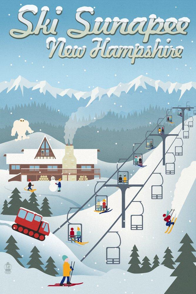 【国内正規品】 Sunapee, New Hampshire 12 - Retro Lantern Ski Press Resort (16x24 Giclee Gallery Print, Wall Decor Travel Poster) by Lantern Press B00N5CCIHS 12 x 18 Art Print 12 x 18 Art Print, カワチグン:ed333634 --- kuoying.net