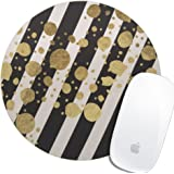 Royal Up Personalized Faux Gold Paint Splatter On Black and White Stripes Offical Desktop or Gaming ergonomic medium Large Cloth surface Natural rubber Round Mouse Pad Mousepad