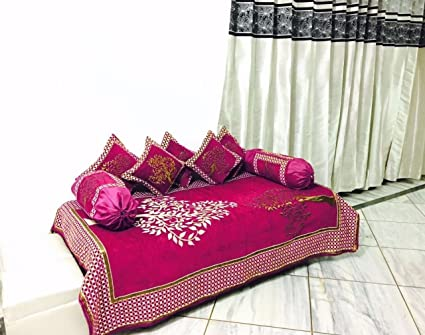 Magnetic Shadow Velvet Touch Chenille Diwan Bedsheet Set of 8 pieces for Living Room Dining Hall (Pink)