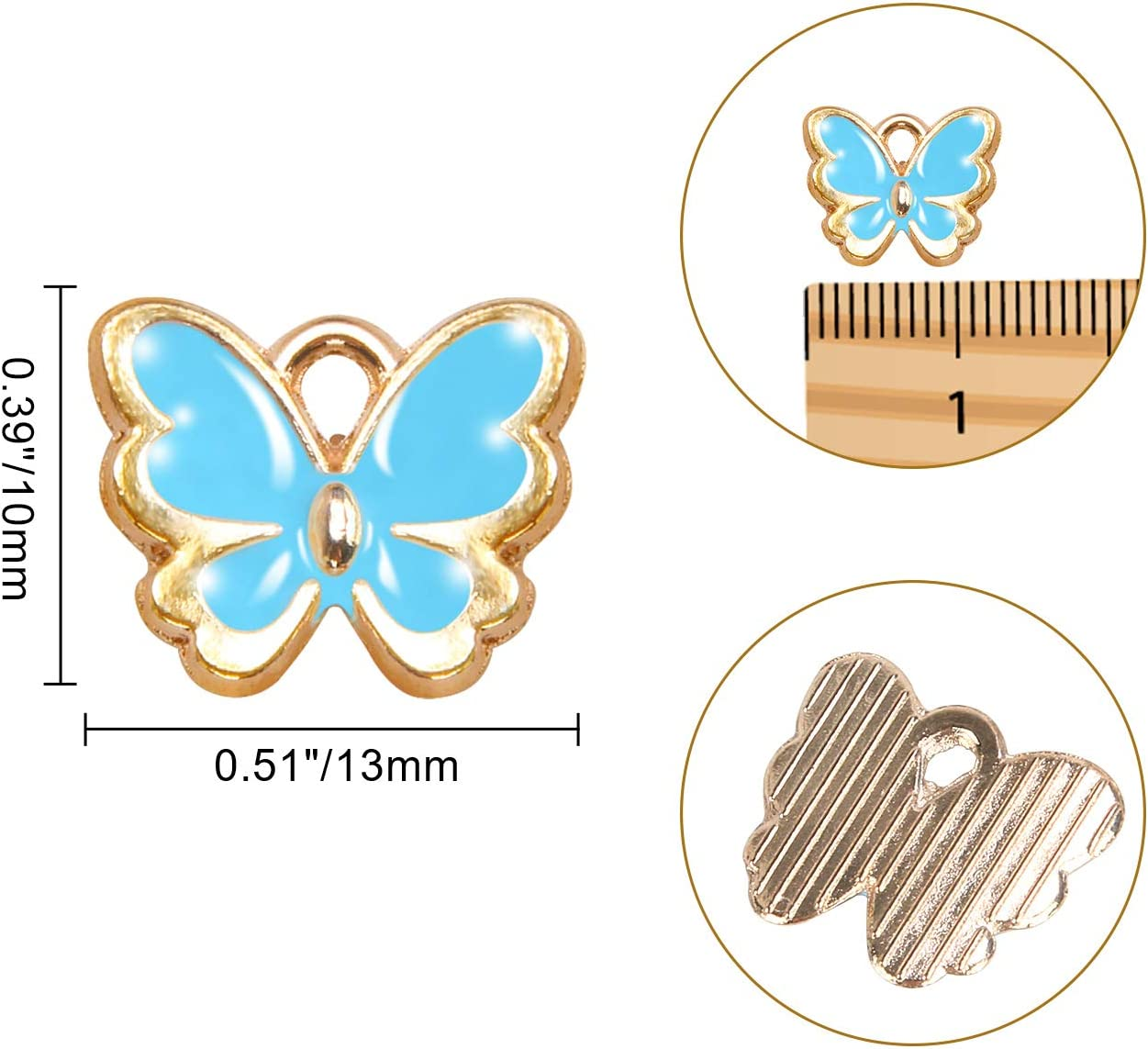 6 Colors SANNIX 72Pcs Butterfly Charms Gold Plated Enamel Pendants for Necklace Bracelet Earrings Jewelry Making