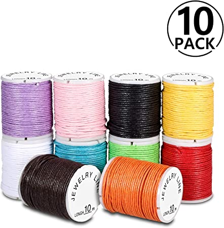 PAMIYO Cordón de Algodón 10 Rollos Hilo Cuerda Encerado Joyería Cordón Cable para DIY Collar Pulsera Abalorios 10m: Amazon.es: Hogar