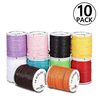 274f794d04f6 PAMIYO Cordón de Algodón 10 Rollos Hilo Cuerda Encerado Joyería Cordón  Cable para DIY Collar Pulsera Abalorios 10m
