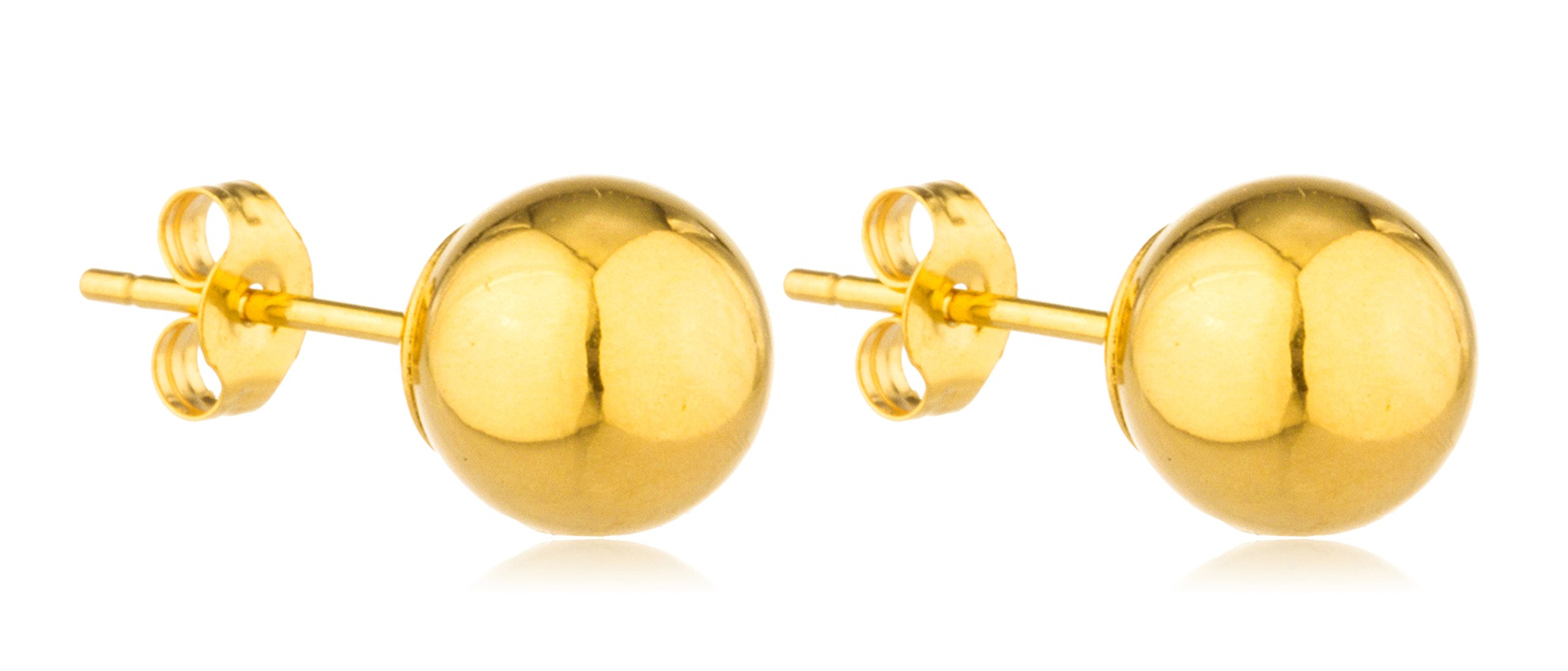 14K Gold Ball Earrings with Matching 14k Pushbacks - All Sizes and Colors Ava..