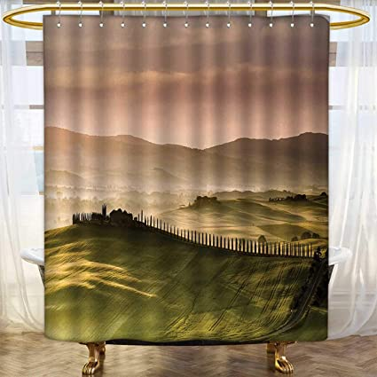 Italian Shower Curtains With Hooks Countryside Road Trees And Meadows By Mountains Mediterranean