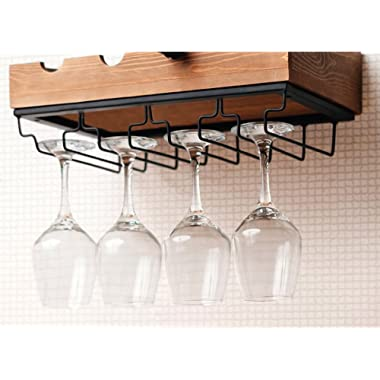 Kenley Wall Mounted Modern Wine Rack with Glass Holder - Rustic Wood - Horizontal Floating Hanging Shelf for 4 Bottles - Metal Bar Stemware Storage Racks for 12 Glasses