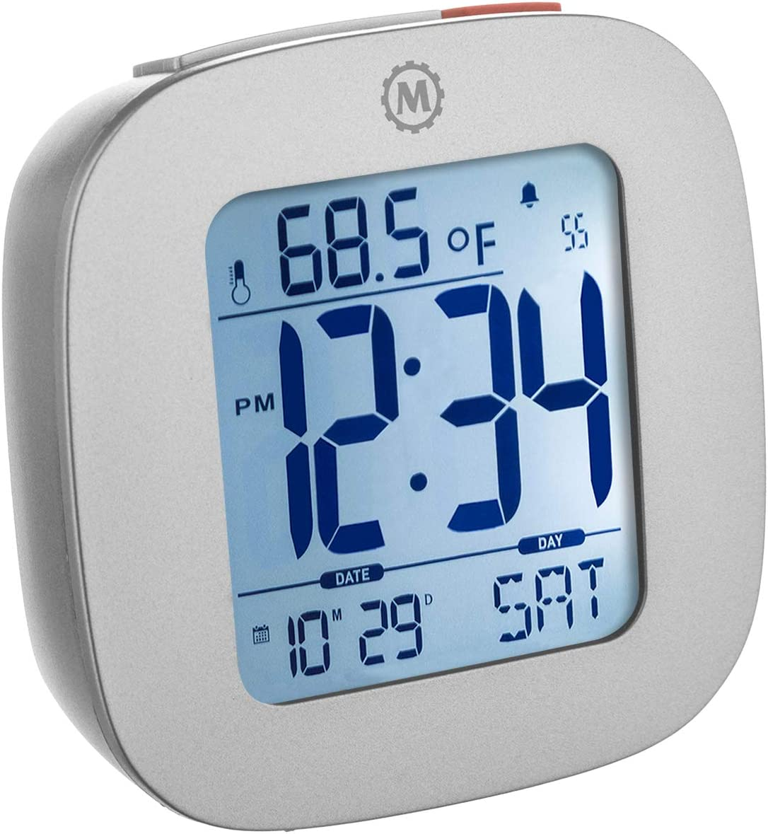 MARATHON CL030058GG Compact Alarm Clock with with Snooze, Light Feature, Temperature and Date - Graphite Grey - Batteries Included