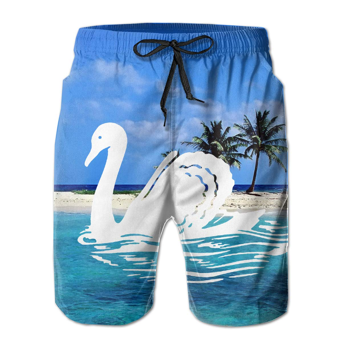 KDSG GSKD Swan Mens Fashion Beach Shorts Quick Dry Swim Trunks Bathing Slips