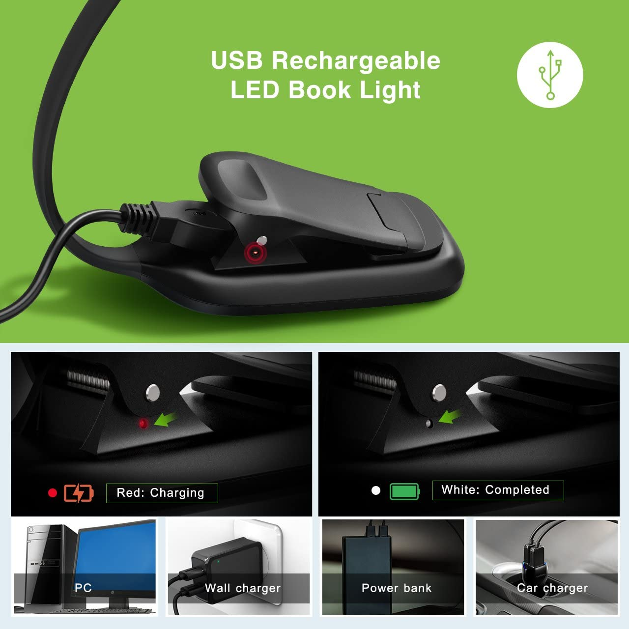 Rechargeable Book Light, TOPELEK LED Reading Light with 3-level Brightness (Cool & Warm), Flexible Easy Clip On Reading Lamp, Eye Protection, Soft Table Light for Night Reading in Bed - -