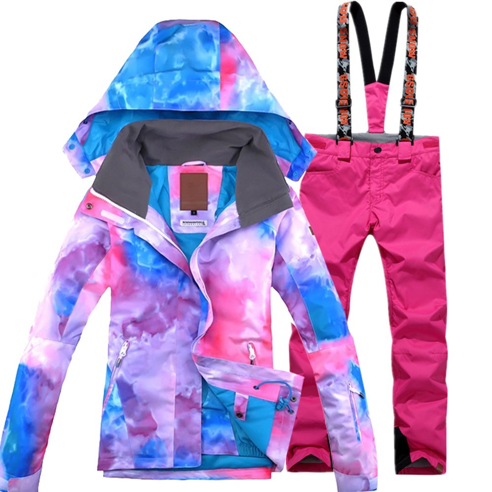 Pink Bib Large GsouSnow Women's Girl Waterproof Windprooof Hooded Ski Suit Jackets Coat Bib Pants Trousers Removable Warm Rain Outdoor Insulated Winter